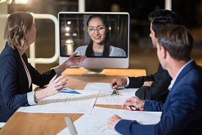 Business team having video conference in the conference room_social_media