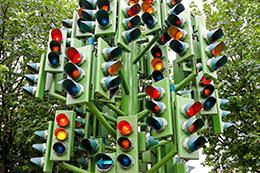 Lot of traffic lights at big pole