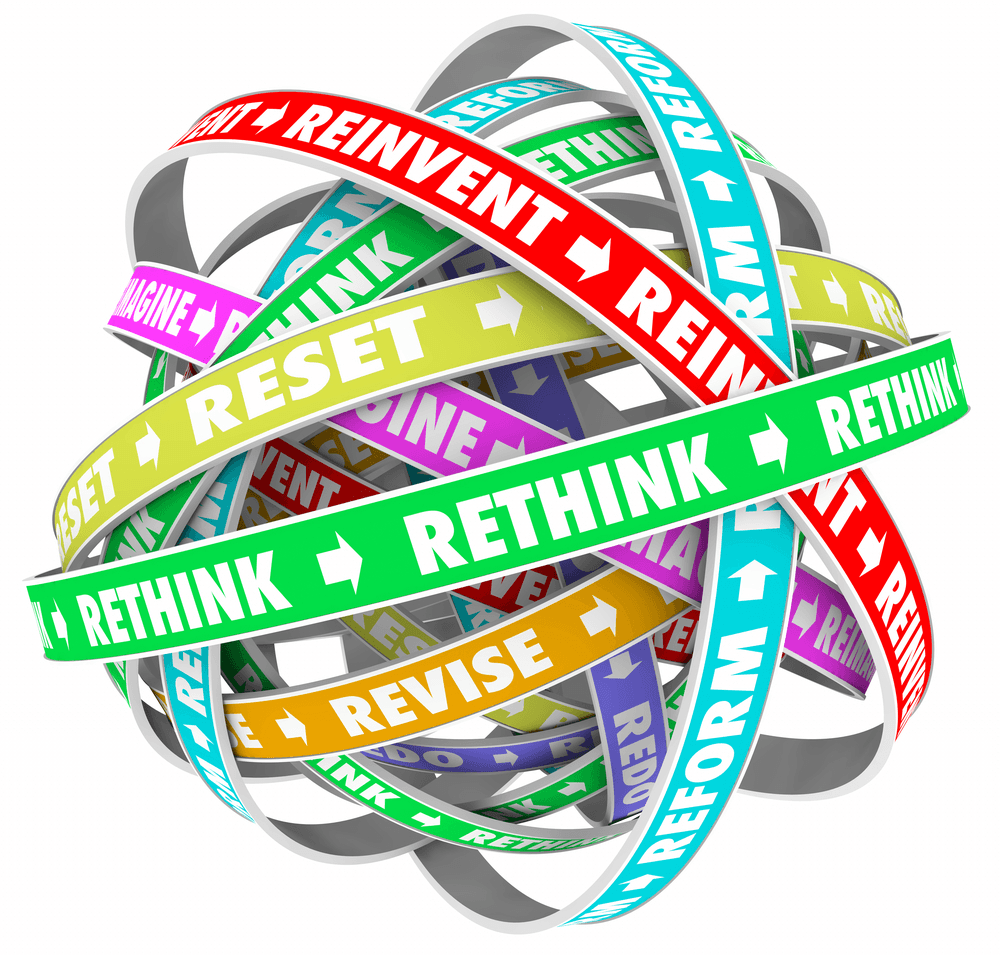 Rethink Reinvent Reimagine Reset Words Loops 3d Illustration