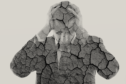 double exposure of depressed business man and dry ground background green