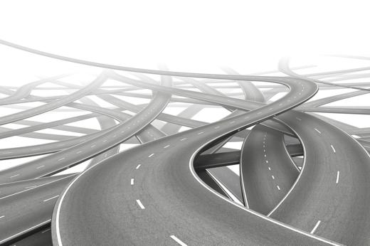 multiple empty roads symbolizing choice